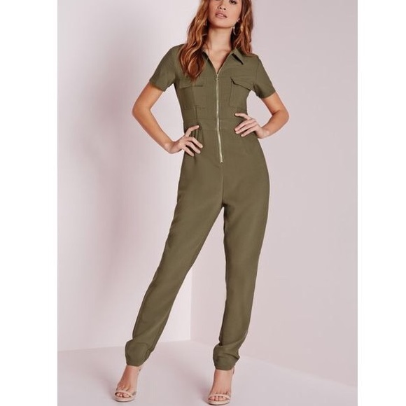 b59b49421 Missguided Pants | Utility Zip Front Jumpsuit Khaki | Poshmark